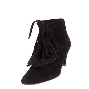 RRP €235 MAJE Leather Ankle Boots EU 40 UK 7 US 10 Heel Fringe Made in Portugal