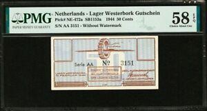 Netherlands Lager Westerbork 50 Cents 1944 AA W/o Wmk. NE-472a AUNC PMG 58 EPQ