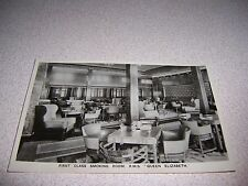 1930s FIRST CLASS SMOKING ROOM on CUNARD RMS QUEEN ELIZABETH SHIP RPPC POSTCARD