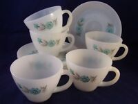 Anchor Hocking Fire-King Boutonniere 5 Cup & Saucer Sets Vintage TST 1960's USA