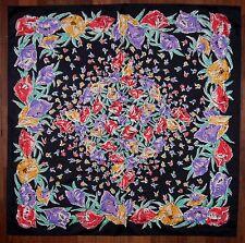 Vintage 80s Ladies Thai Silk Scarf. Modern Folk Art Flowers on Black.