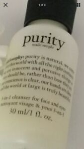 Philosophy Purity 3-in1 Cleanser for Face and Eyes 30ml  New  Sealed Free P&P