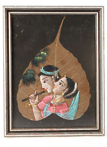 Hand Painting On Leaf  - Women with Flute - Indian leaf paintings on Peepal