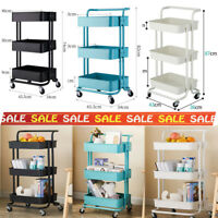 3 Tier Organizer Trolley Cart Utility Mobile Shelf Rolling Storage Rack Steel US