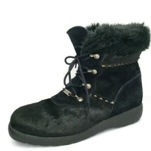 SOREL Canada Women's 12 M Black Suede Calf Hair Lace Up Wedge Fur Ankle Boots