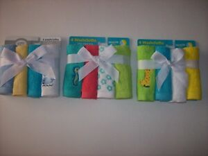 "Luvable Friends Spasilk Washcloth 4 Pack Boys Girls Size 10x10"" Select Style NIP"