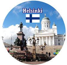 HELSINKI, FINLAND  - SIGHTS / FLAG - ROUND SOUVENIR FRIDGE MAGNET - GIFTS - NEW