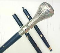 Solid Brass Silver Knob Handle Style Brown Wooden Walking Stick Victorian Cane