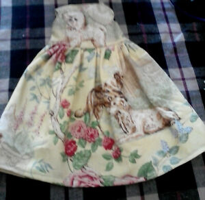 HANDMADE DOGS & ROSES PRINT FABRIC DRESS FOR 18 INCH DOLLS