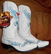 Durango Size 10B NEW Women's Cowboy Boots - White leather w/turqoise embroidery