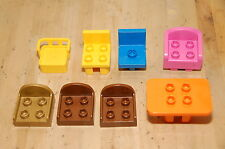 Lot of 8 Lego Duplo Assorted Chairs + Table Yellow Blue Pink Gold Brown Orange