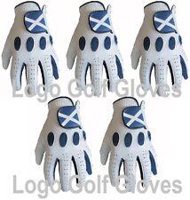 5 100% Cabretta Leather Golf Gloves Scotland Logo 4 Small Medium Large Extra XL