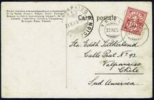 457 SWITZERLAND TO CHILE POSTCARD 1905 TRIET - VALPARAISO