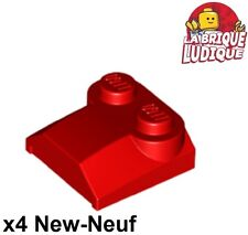 Lego - 4x Brique Brick Modified 2x2x2/3 2 Studs Lip End rouge/red 41855 NEUF
