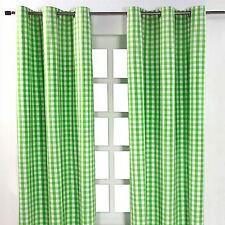 Homescapes Pair of 100 Cotton Ready Made Curtains - 1 Block Check - Green - 137