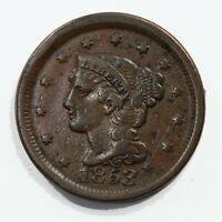 Raw 1853 Braided Hair 1C Uncertified Ungraded US Mint Copper Large Cent Coin