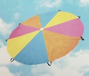 PARACHUTE Kids Outdoor Activity 9 Feet 8 Inches 8 Handles Bright Colors EUC