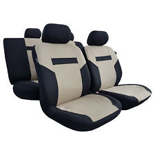 11pcs New Beige Black Polyester Car Seat Covers Racing Design For Honda Mazda
