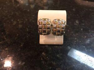 Vintage OTC 18k Yellow Gold White Gold  Clip Post Omega Earrings  6.4 GR   ITALY