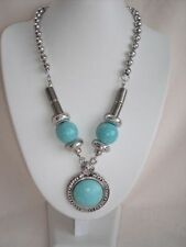 Turquoise Alloy Stone Round Costume Necklaces & Pendants