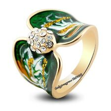 18K Yellow Gold GP Clear Crystal Enamel Woman Fashion Cocktail  Ring M735