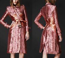 Burberry Prorsum Metallic Pink & Orange Plisse Pleated Corset Trench Coat  IT 44