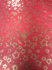 Christmas Star Gold Red Fabric Dress Making Computer Foil By Metre