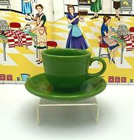 Homer Laughlin Fiesta Ware Coffee/Tea Cup & Saucer P86 Shamrock Green