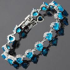 Fashion! Fashion Heart Cut Aquamarine Topaz 18K White Gold Gp Tennis Bracelet