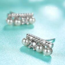 18K WHITE GOLD FILLED CRYSTAL STUD EARRINGS IMITATION PEARL SMALL