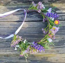 Wildflower Flower Crown Purple Rustic Boho Bridesmaid Headband Wedding Headpiece