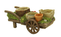 Wagon Cart Planter Garden Indoor Outdoor Weathered Look Resin Mini Plants Pots