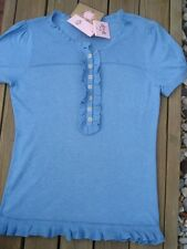 NWT Juicy Couture Blue Heather Ribbed Henley Top Lie retail  $148