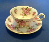 Royal Chelsea Teacup And Saucer  - White With Pink Cherry Blossoms - England