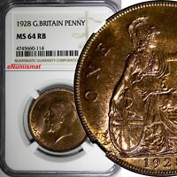 GREAT BRITAIN George V Bronze 1928 1 Penny NGC MS64 RB 1st YEAR for TYPE KM# 838