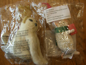 Set 2:Pottery Barn Glitter Felt Cat & Bottlebrush Mouse Christmas Ornaments-New
