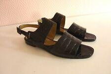 Yves Saint-Laurent sandales femme Pointure 41 cuir noir vintage.