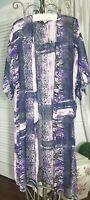 NEW Plus Size 1X 2X  Blue Purple Animal Print Open Duster Topper Kimono
