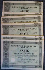WHOLESALE: 100 x BUDERUS'SCHE EISENWERKE, WETZLAR, Aktie Lit. H über 200 RM, Wet