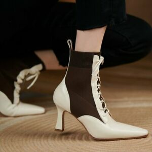 Women Cow Leather Ankle Boots Cotton Blend Slim High Heel Party Pumps Lace Up