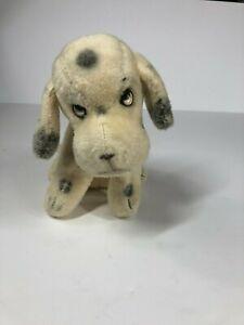 "Vintage 8"" Seated Dalmation Puppy Dog Sad Eyes and Jingles Stuffed Animal Plush"