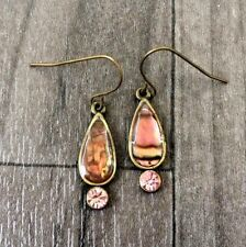 VINTAGE BRONZE DROP DANGLE ENAMEL PINK CRYSTAL EARRINGS RETRO CUTE STYLE