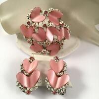 Vintage Signed BSK Thermoset Pink Heart Rhinestone Brooch Earring Set  20f3