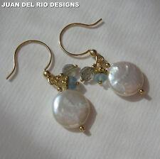*DeLuxe* Aquamarin Labradorit Zuchtperlen Ohrringe Biwa Münzen Gold 585 14K GF