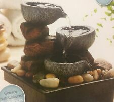 Small Stone Effect Water Fountain - Multi Level With LED