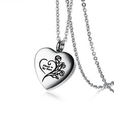 Women Man Pendant Necklace Love Heart Ash Urn Cremation Memorial Stainless Steel