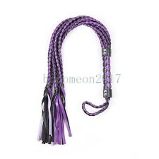 Purple Fantasy Leather Weave Whip Riding Crop Party Flogger Queen Gift Game Toys