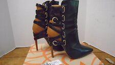 Jerome Rousseau Jiro Bootie Closed Toe Women's Shoe 38 Heel Strappy Italy 7.5 8