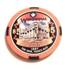 New listing $5 Wyndham 1997 Grand Opening Casino Poker Chip San Juan Puerto Rico Bud Jones