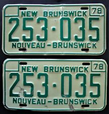New listing 1978 New Brunswick Canada License Plate Pair - Man Cave